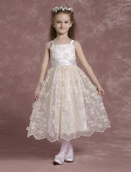 Milanoo Champagne Flower Girl Dresses Spaghetti Strap Lace Pageant Dresses Toddler's Tea Length Applique Formal Dresses With Ribbon Sash