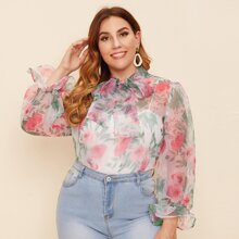 Plus Tie Neck Flounce Sleeve Floral Organza Top Without Camisole