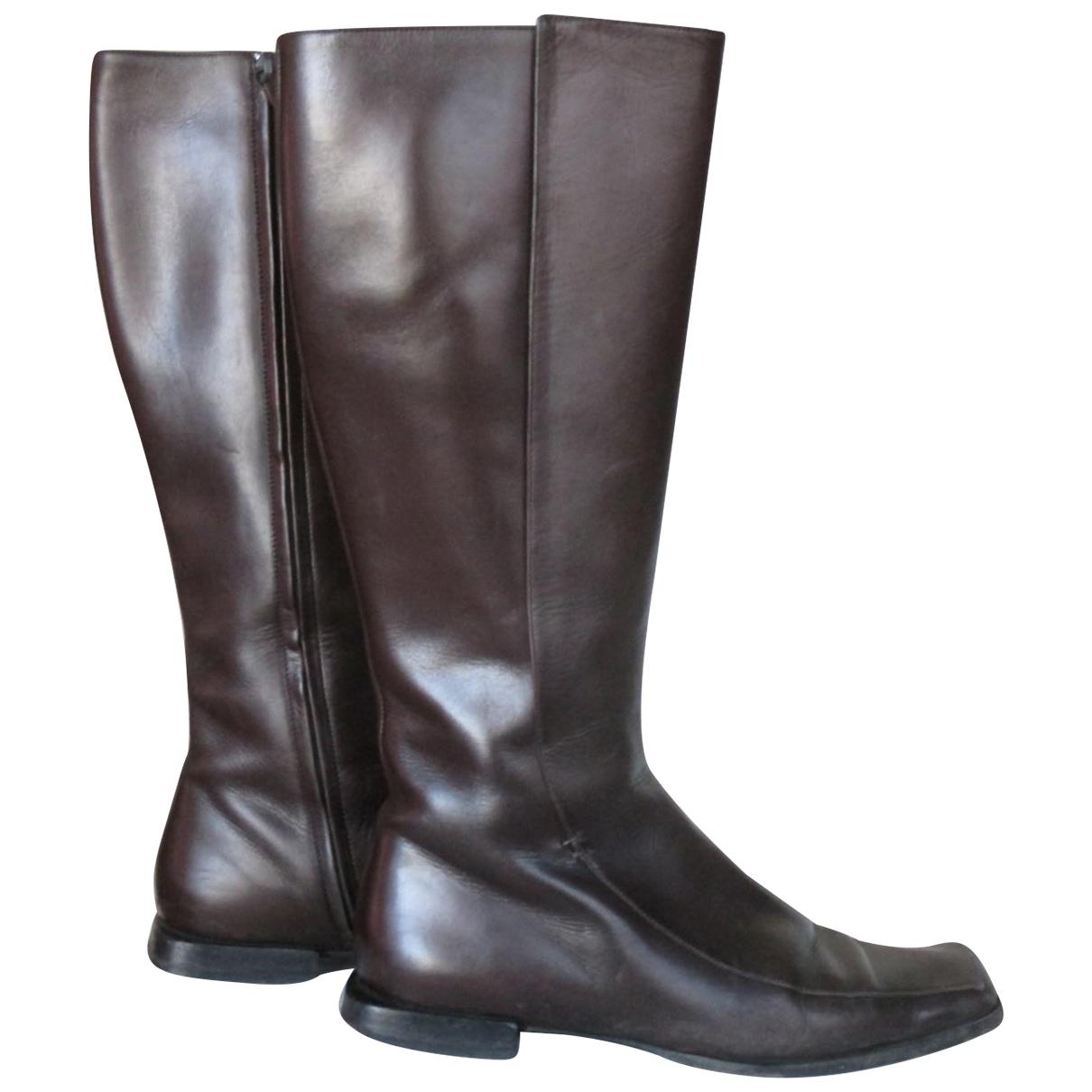 Hermes - Bottes   pour femme en cuir - marron
