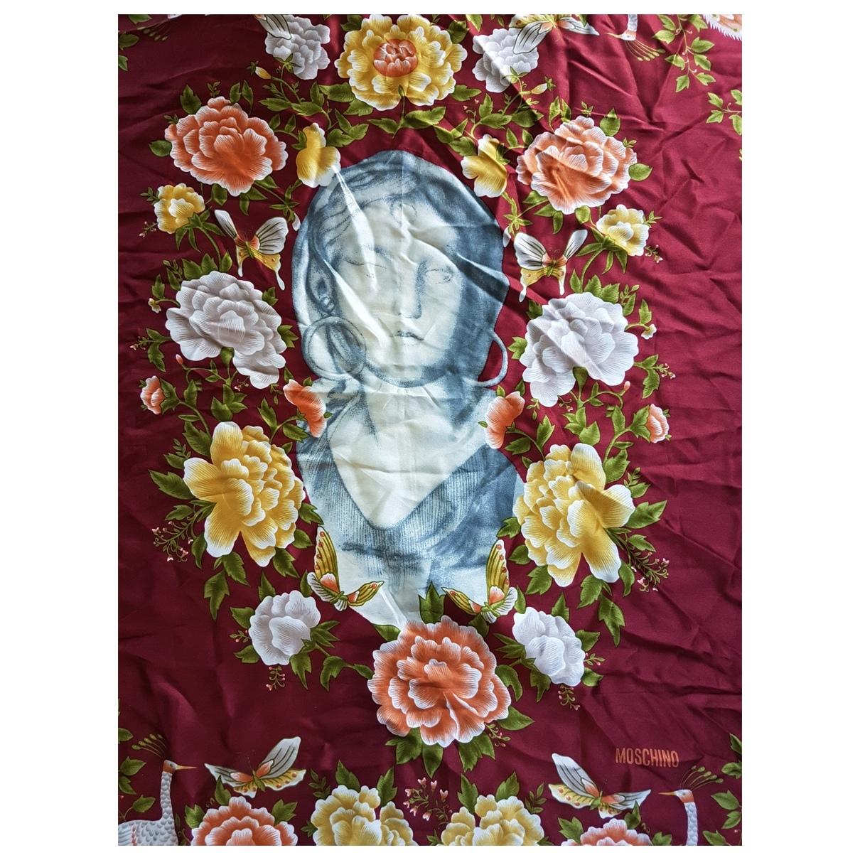 Moschino - Foulard   pour femme en soie - bordeaux