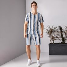 Men Striped Tee & Track Shorts
