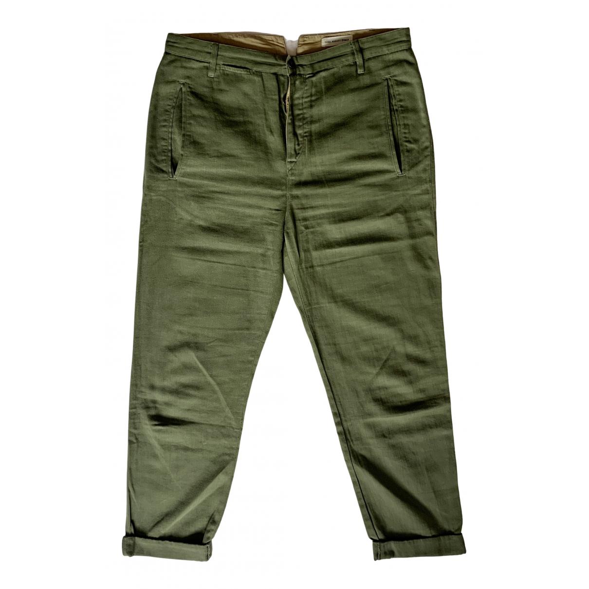 Isabel Marant Etoile \N Khaki Cotton Trousers for Women 40 FR