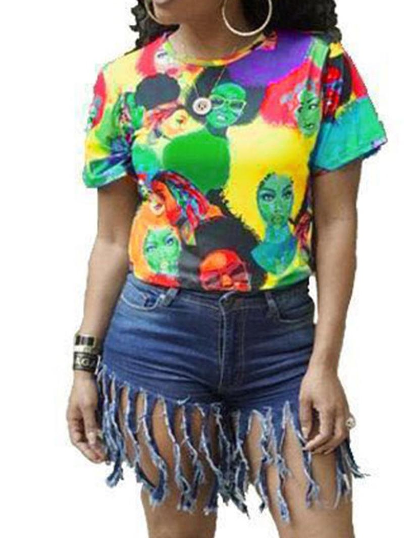 Ericdress Color Block Cartoon Short Sleeve Fashion T-Shirt