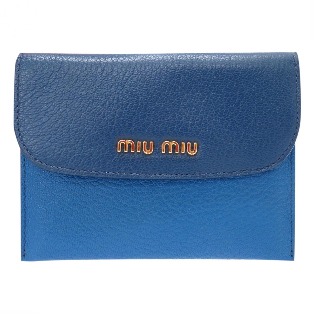 Miu Miu - Petite maroquinerie   pour femme en cuir - bleu