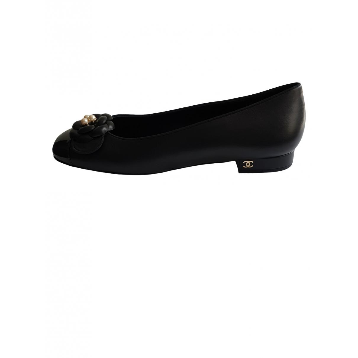 Chanel - Ballerines   pour femme en cuir - noir