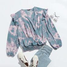 Camisa de tie dye cruzada delantera ribete con fruncido