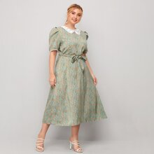 Plus Guipure Lace Collar Belted Ditsy Floral Dress