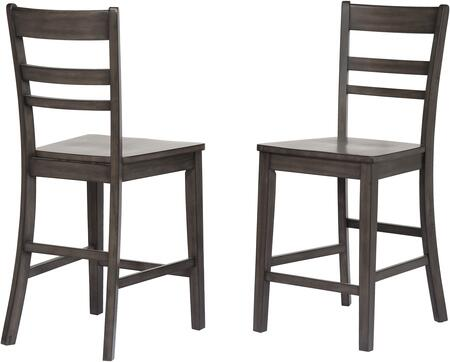 DLU-EL-B200-2 Shades of Gray Collection Stool Chair with Ladder Open Back  Stretcher  Footrest and Wood Construction  in Weathered