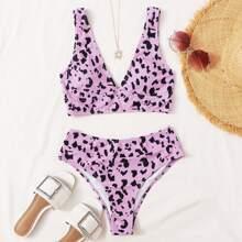 Bikini Badeanzug mit Muster und hoher Taille