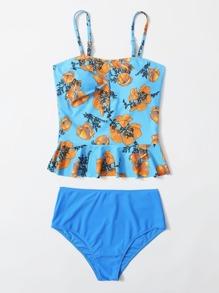 Floral Ruffle Hem High Waisted Bikini Swimsuit