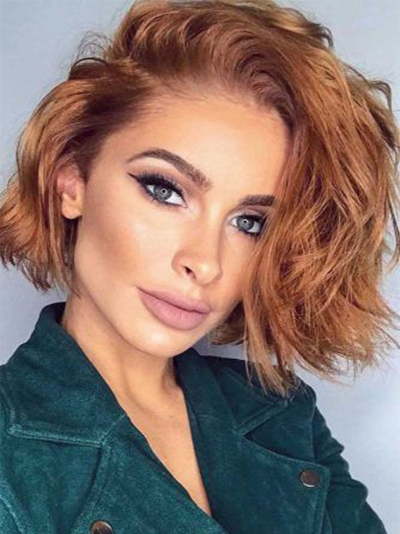 Ericdress Women's Attractive Short Wavy Bob Hairstyles Side Part Vibrant Colour Synthetic Hair Capless Wigs 16Inch