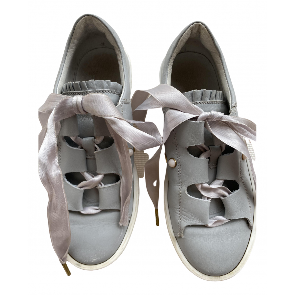 Twin Set - A lacets   pour enfant en cuir - gris