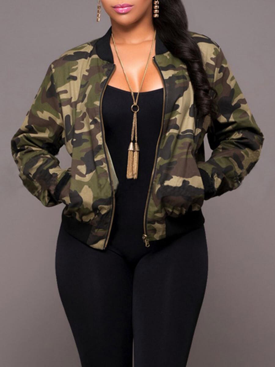 LW Lovely Stylish Camo Print Zipper Design Jacket