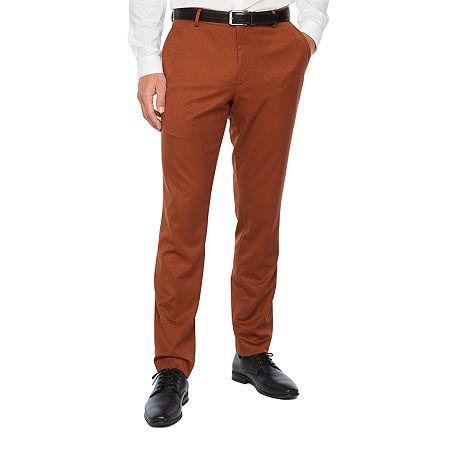 JF J.Ferrar Mens Stretch Slim Fit Suit Pants, 30 30, Brown