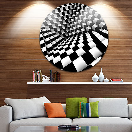 Design Art Optical Black and White Pattern Disc Abstract Circle Metal Wall Art, One Size , Black