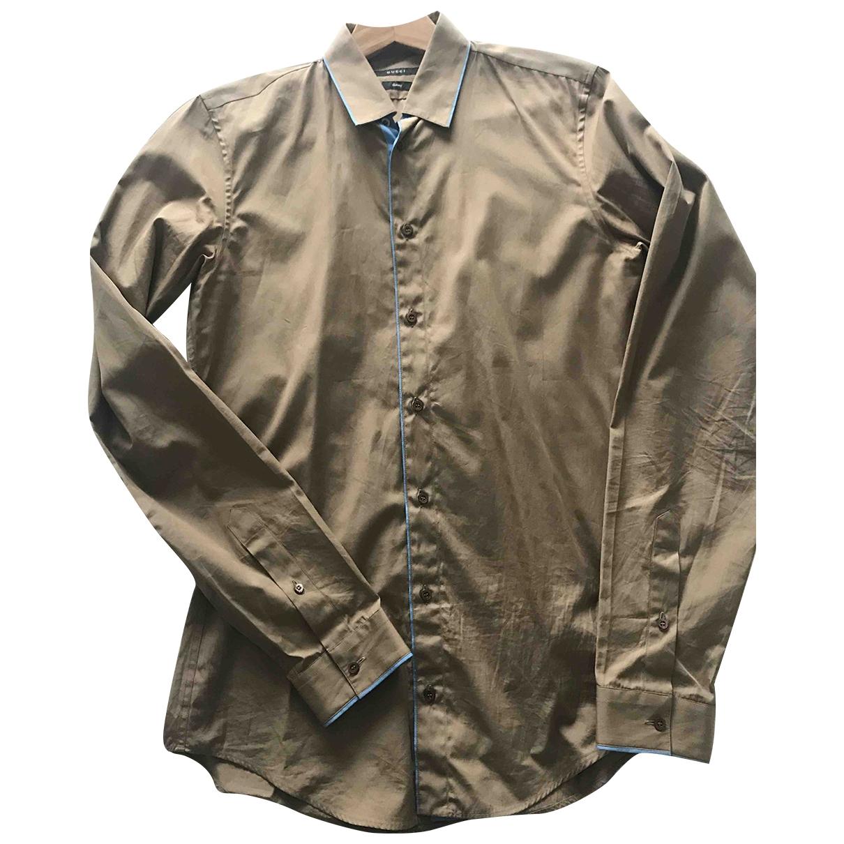 Gucci \N Beige Cotton Shirts for Men 39 EU (tour de cou / collar)