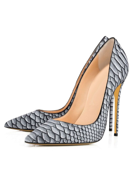 Milanoo Women's Sexy High Heels Dress Shoes Snake Print Pointed Toe Stiletto Heel Pumps in Grey