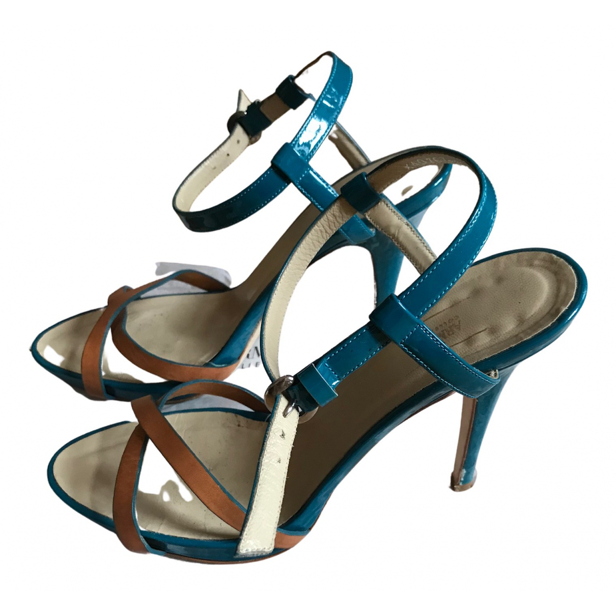 Emporio Armani N Turquoise Patent leather Sandals for Women 38.5 EU