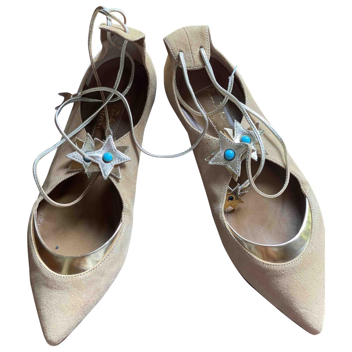 Aquazzura Christy Ballerinas in  Rosa Veloursleder