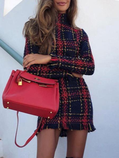Yoins Red Check Turtleneck Long Sleeves Dress