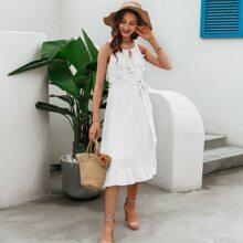 Tassel Tie Neck Guipure Lace Insert Belted Dress