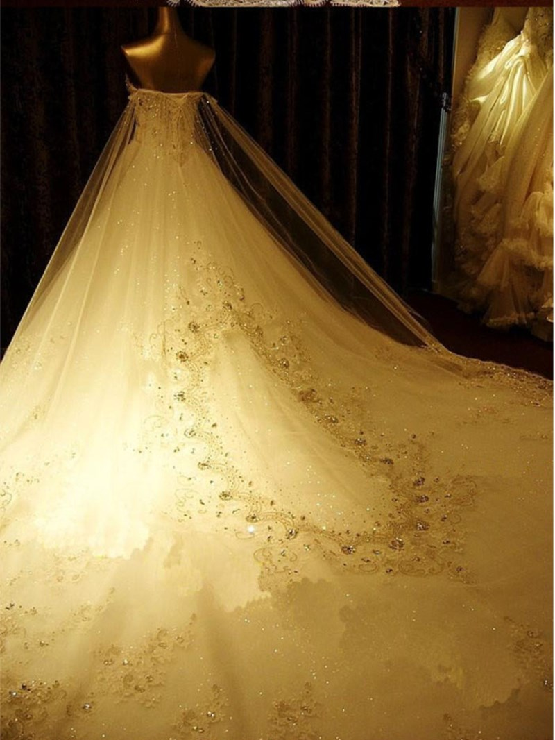 Ericdress Diamond Crystal Luxurious Wedding Dress with Train