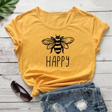 Plus Bee & Letter Graphic Tee