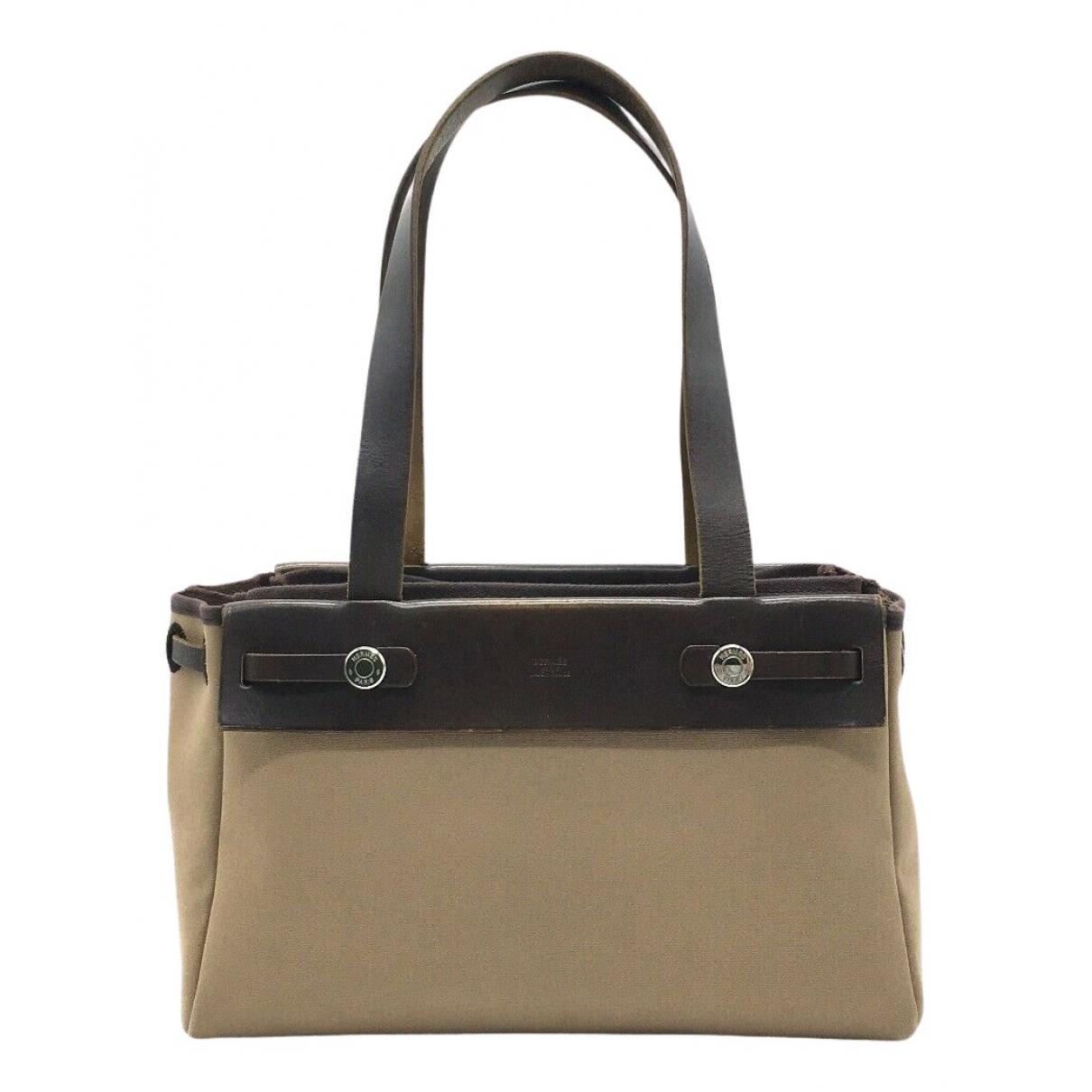 Hermes Herbag Handtasche in  Beige Leinen