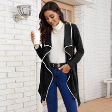 Mantel mit Kontrast Bindung, Wasserfallkragen und Guertel