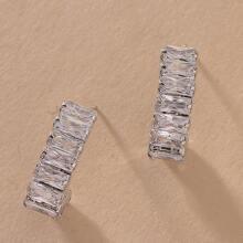 Gemstone Decor Stud Earrings