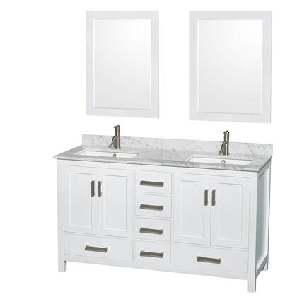 WCS141460DWHCMUNSM24 60 in. Double Bathroom Vanity in White  White Carrera Marble Countertop  Undermount Square Sinks  and 24 in.