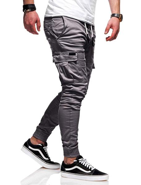 Milanoo Men Track Pant Khaki Cargo Pant Drawstring Pocket Tapered Fit Pant