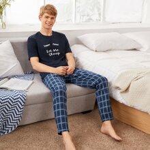 Conjunto de pijama camiseta con estampado de slogan y pestaña con pantalones de cuadros