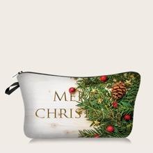 Bolsa de maquillaje con patron de Navidad