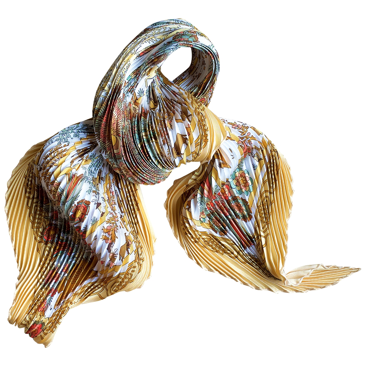 Hermès Plissé Yellow Silk Silk handkerchief for Women \N