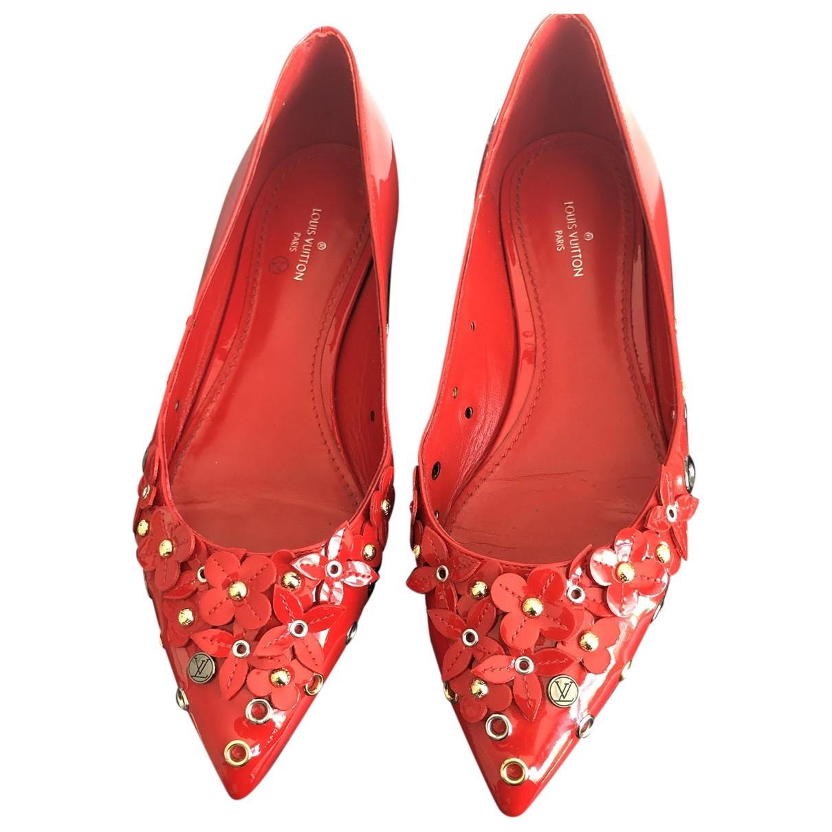 Louis Vuitton - Ballerines   pour femme en cuir verni - rouge