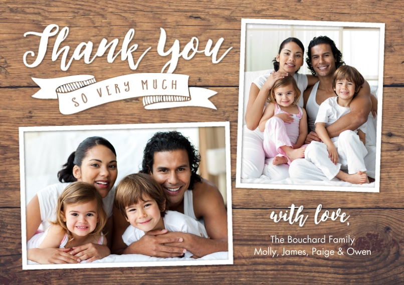 Wedding Thank You 5x7 Cards, Standard Cardstock 85lb, Card & Stationery -Thank You Banner