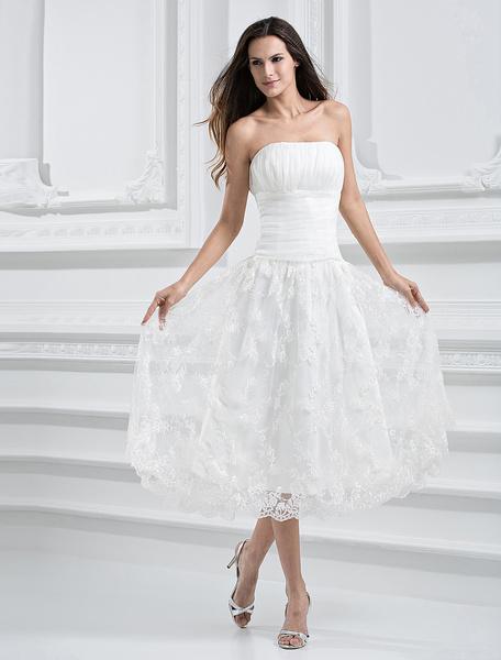 Milanoo Simple Wedding Dresses Ivory Brocade Organza Strapless Tea Length Bridal Dress