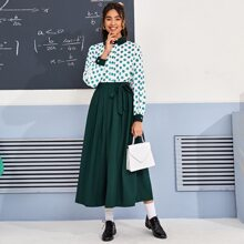 Polka Dot Button Front Blouse And Tie Front Skirt Set