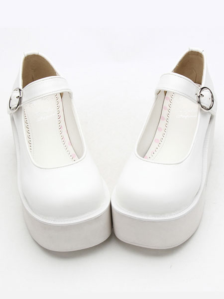 Milanoo Sweet Lolita Shoes White Platform Wedge Ankle Strap Lovely Lolita Shoes