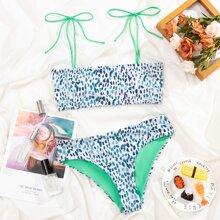 Allover Graphic Tie Shoulder Bikini Swimsuit