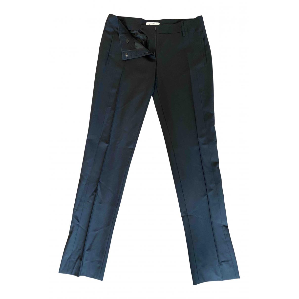 Prada N Black Wool Trousers for Women 42 IT