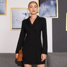 Notch Collar Double Button Blazer Dress
