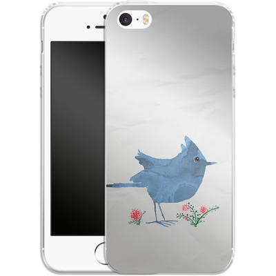Apple iPhone SE Silikon Handyhuelle - Watercolour Bird White von caseable Designs