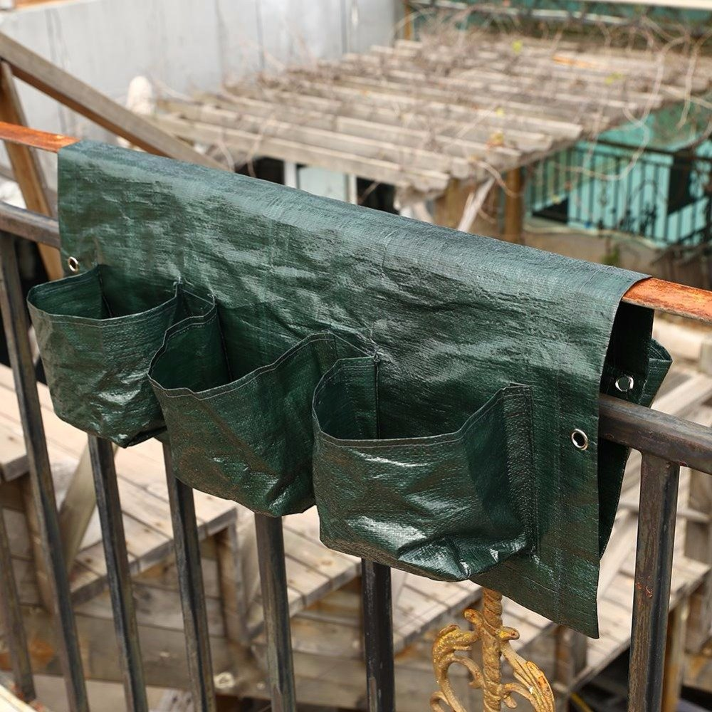 6 Hole Bar Dimensional Plastic Planting Bags Balcony Hanging Pots Railing Garden Flower Pots