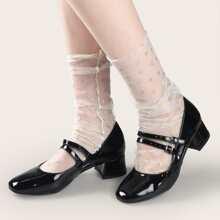 Glitter Mesh Slouchy Socks
