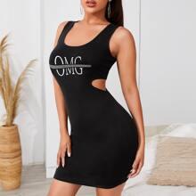 Figurbetontes Kleid mit Buchstaben Grafik und Ausschnitt Detail