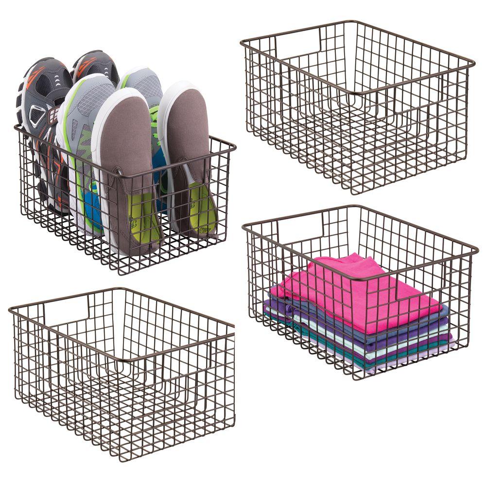 mDesign Metal Wire Closet Storage Organizer Basket in Bronze, 12