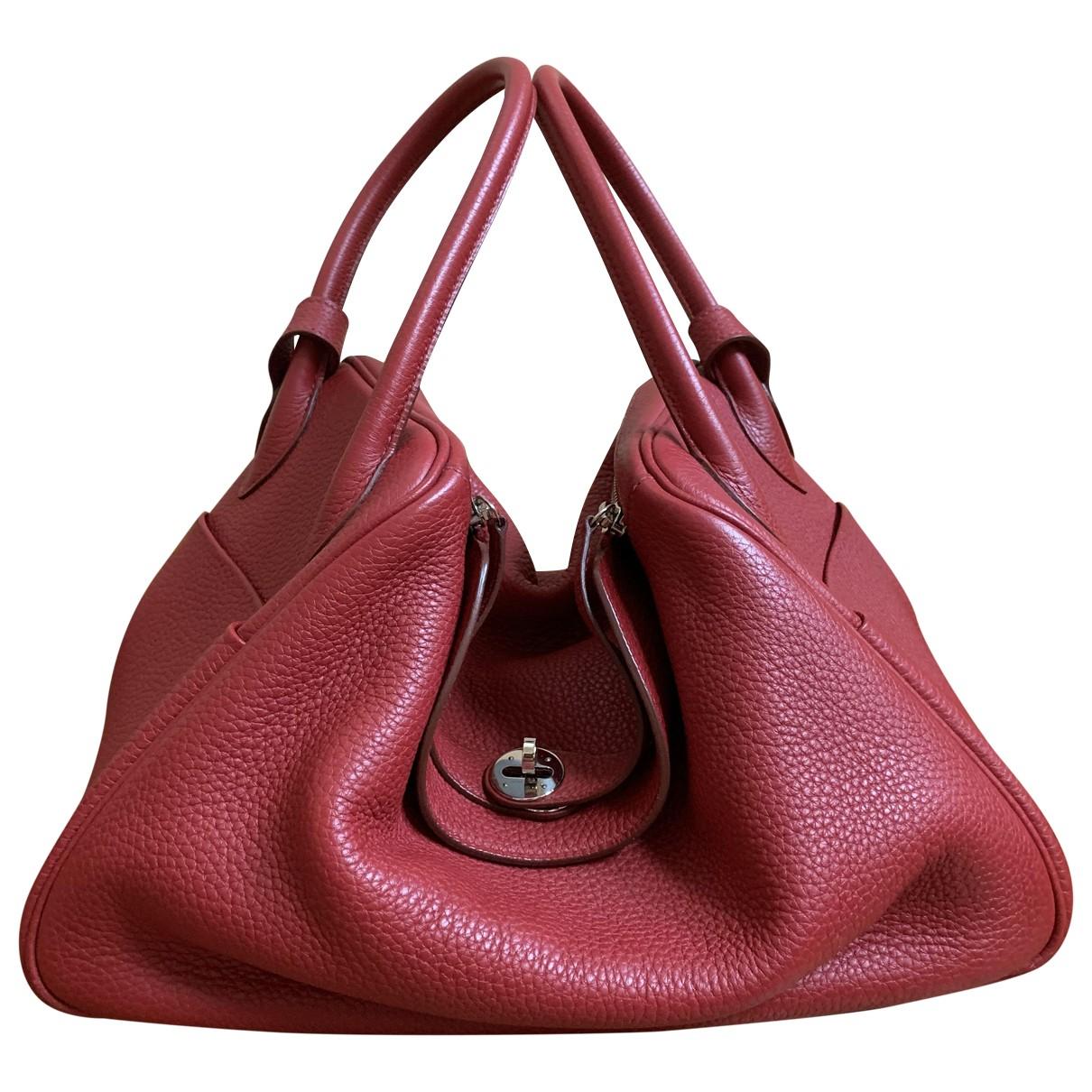 Hermes Lindy Handtasche in  Rot Leder