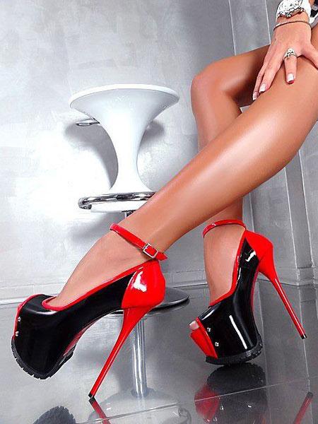 Milanoo Black Sexy Shoes Women Peep Toe Platform Ankle Strap High Heels Pole Dance Shoes